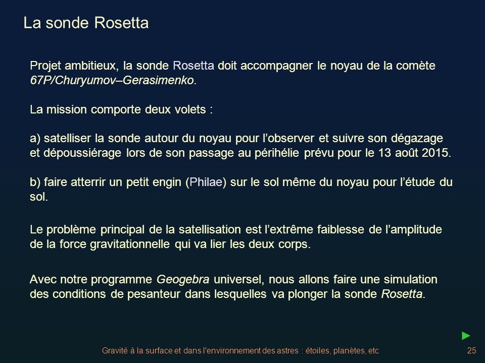La sonde Rosetta Projet ambitieux, la sonde Rosetta doit accompagner le noyau de la comète 67P/Churyumov–Gerasimenko.
