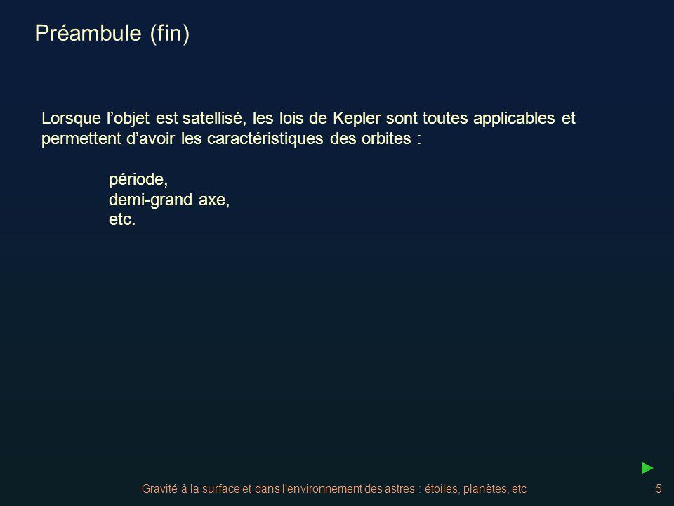 Préambule (fin) Lorsque l'objet est satellisé, les lois de Kepler sont toutes applicables et permettent d'avoir les caractéristiques des orbites :