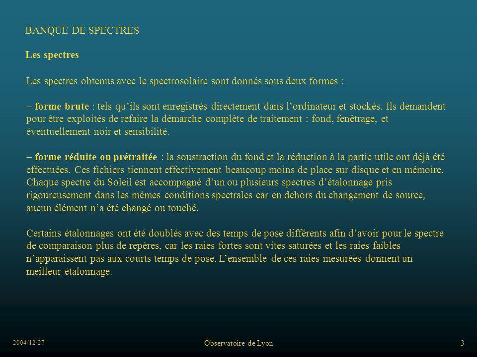BANQUE DE SPECTRES Les spectres