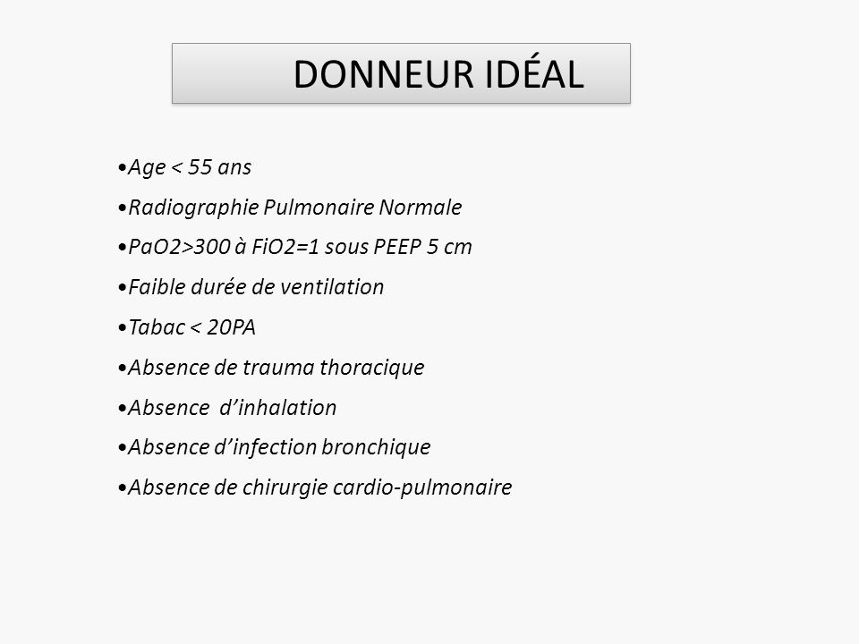 DONNEUR IDÉAL Age < 55 ans Radiographie Pulmonaire Normale