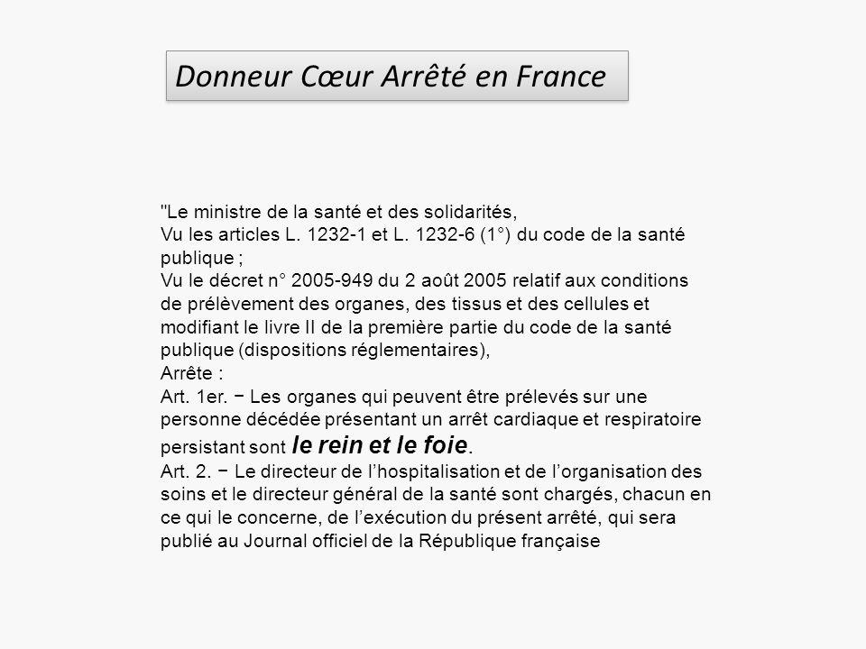 Donneur Cœur Arrêté en France