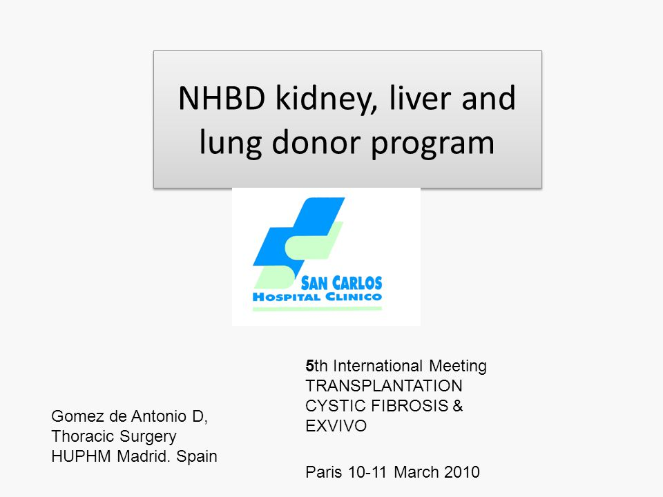 NHBD kidney, liver and lung donor program