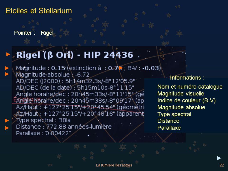 Etoiles et Stellarium Pointer : Rigel ► ► ► ► Informations :