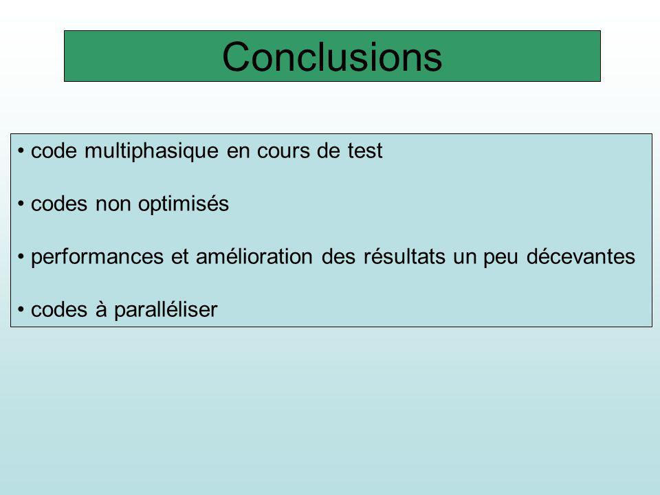Conclusions code multiphasique en cours de test codes non optimisés