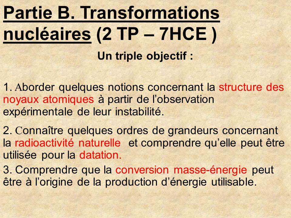 Partie B. Transformations nucléaires (2 TP – 7HCE )