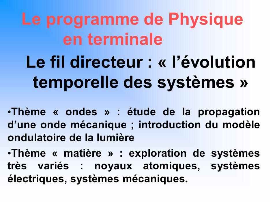 Le fil directeur : « l'évolution temporelle des systèmes »