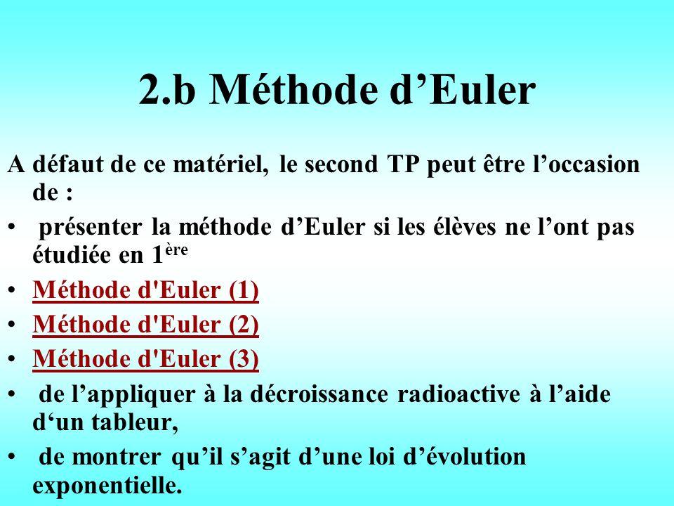 2.b Méthode d'Euler A défaut de ce matériel, le second TP peut être l'occasion de :
