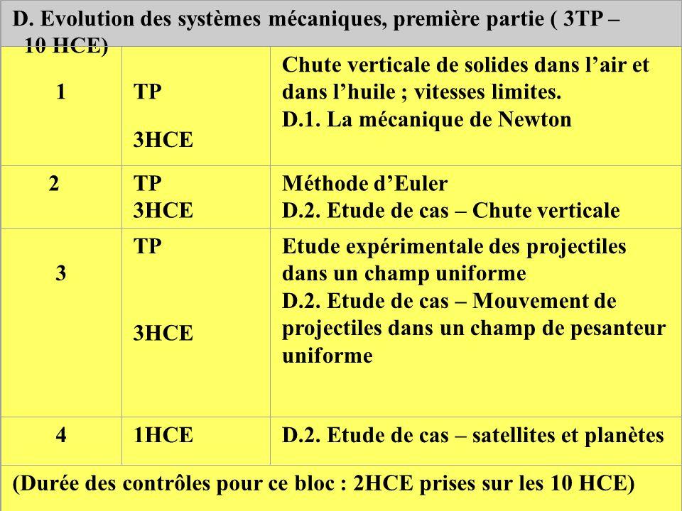 D. Evolution des systèmes mécaniques, première partie ( 3TP –