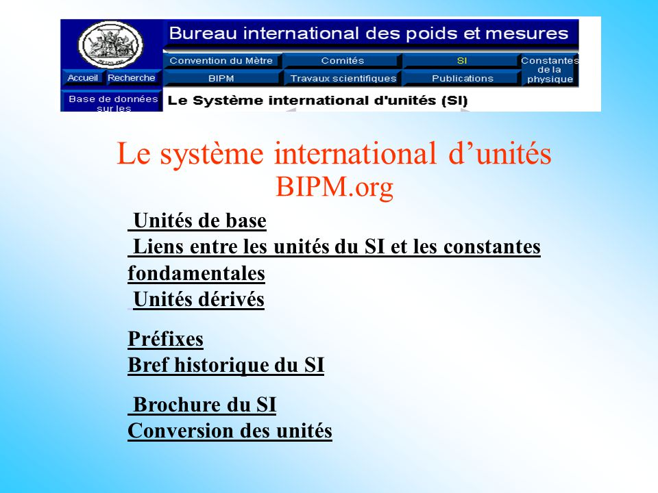 Le système international d'unités BIPM.org