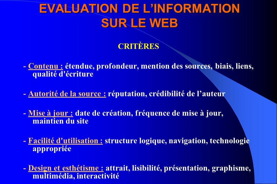 EVALUATION DE L'INFORMATION SUR LE WEB