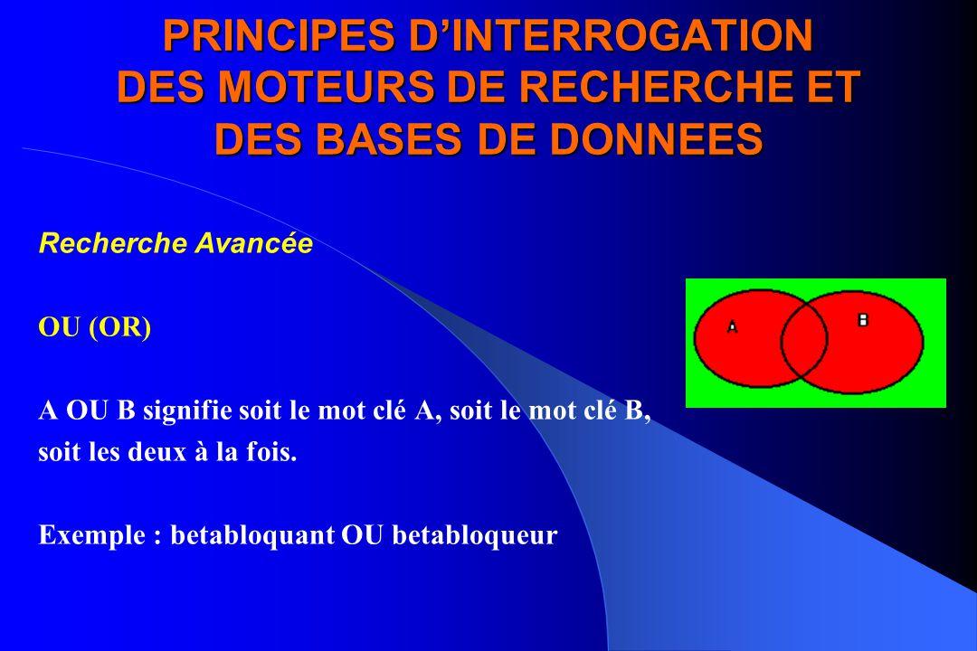 PRINCIPES D'INTERROGATION DES MOTEURS DE RECHERCHE ET DES BASES DE DONNEES