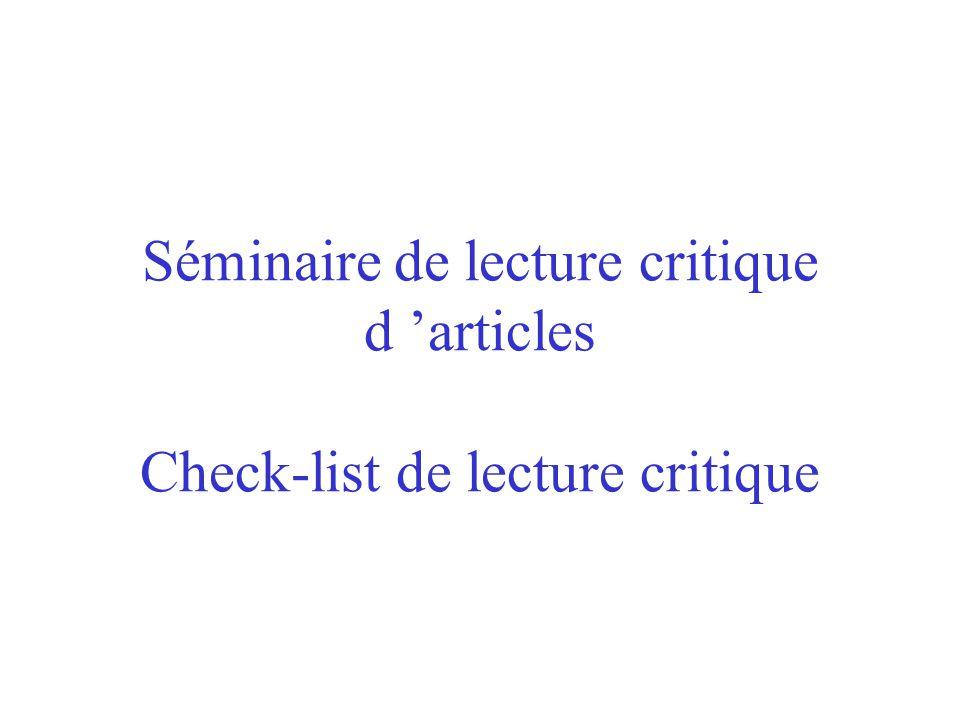 Séminaire de lecture critique d 'articles Check-list de lecture critique