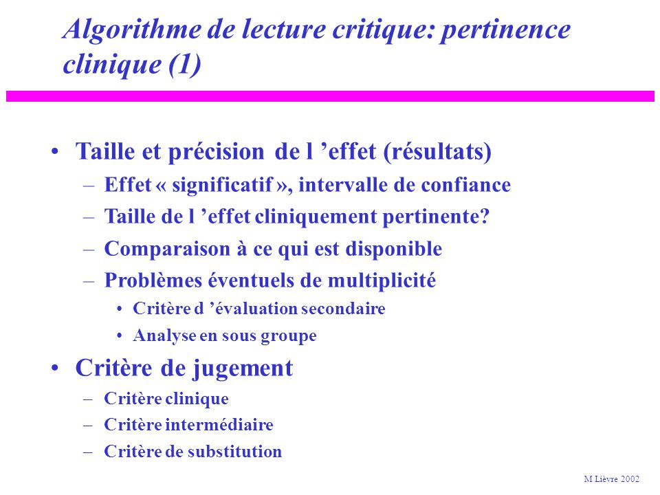 Algorithme de lecture critique: pertinence clinique (1)