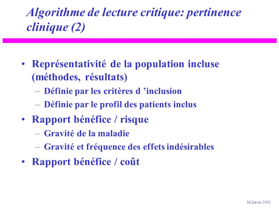 Algorithme de lecture critique: pertinence clinique (2)