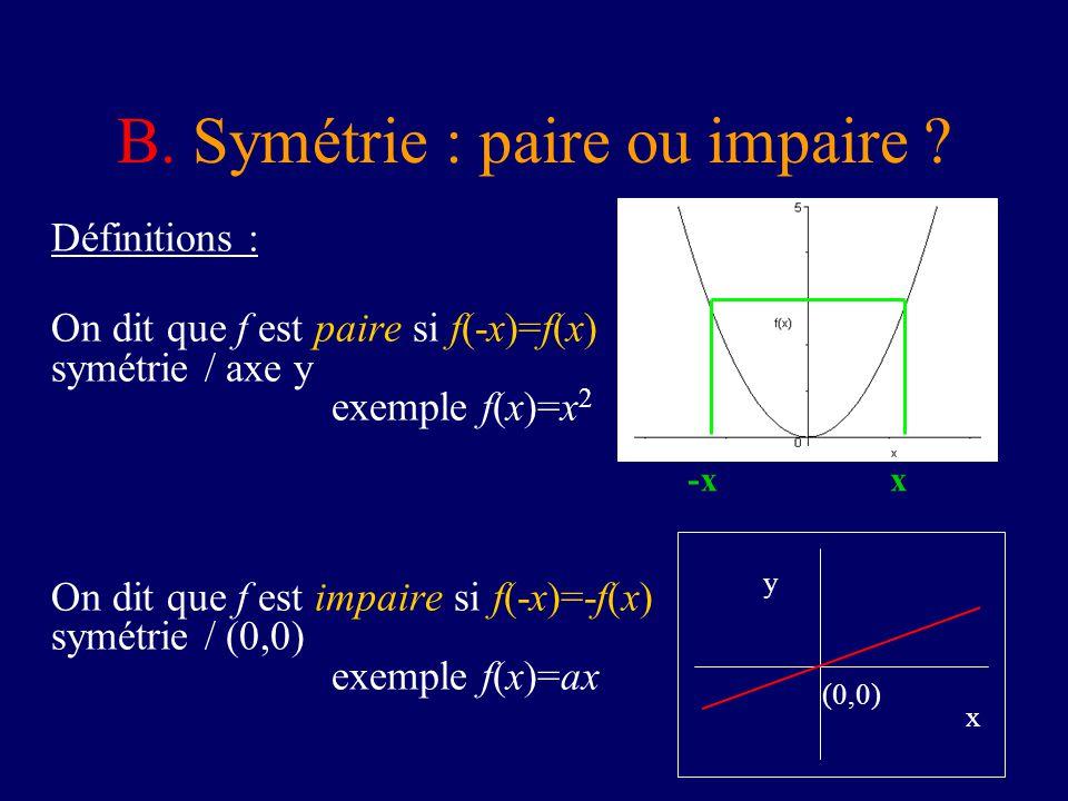 B. Symétrie : paire ou impaire