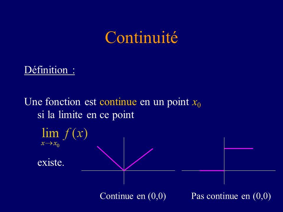 Continuité Définition :