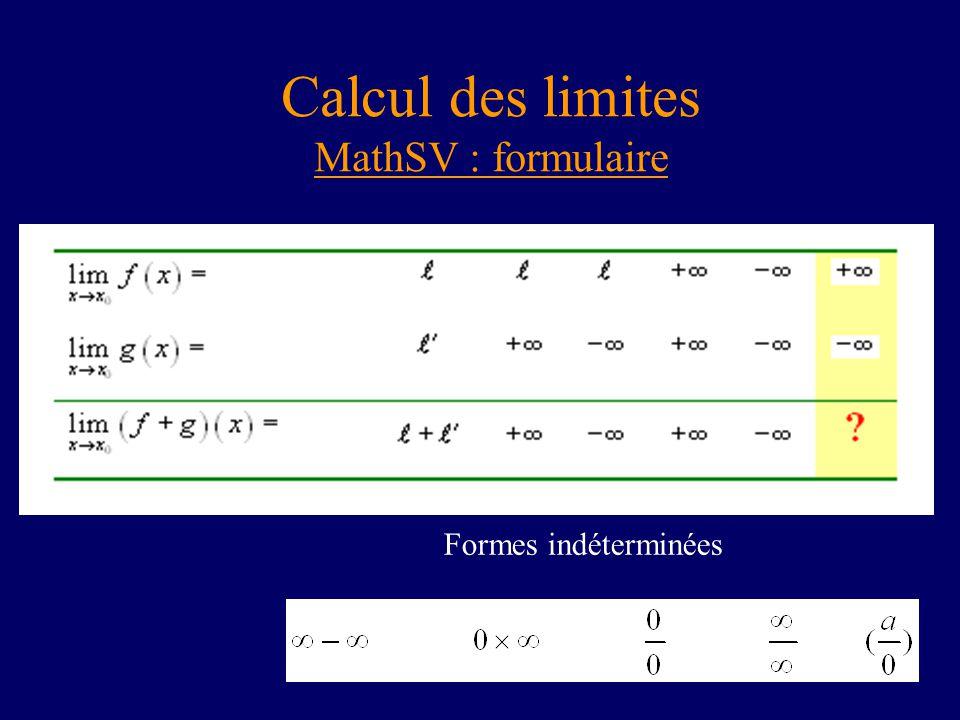 Calcul des limites MathSV : formulaire