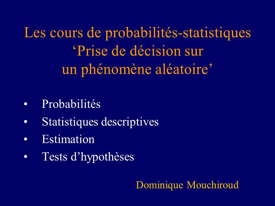 Les cours de probabilités-statistiques 'Prise de décision sur un phénomène aléatoire'