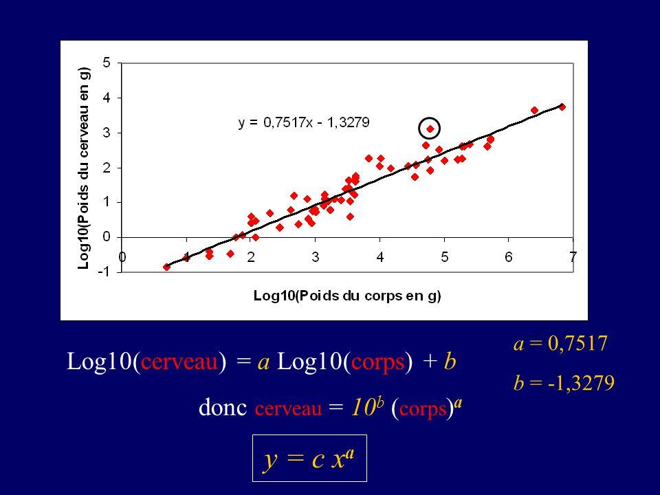 Log10(cerveau) = a Log10(corps) + b donc cerveau = 10b (corps)a