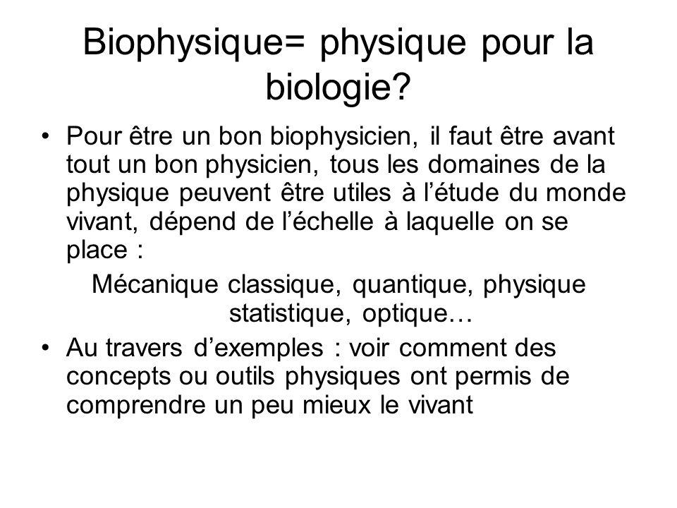 Biophysique= physique pour la biologie