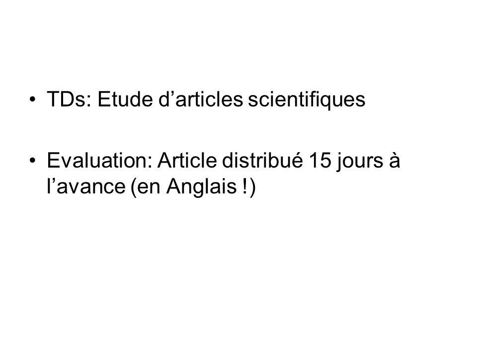 TDs: Etude d'articles scientifiques