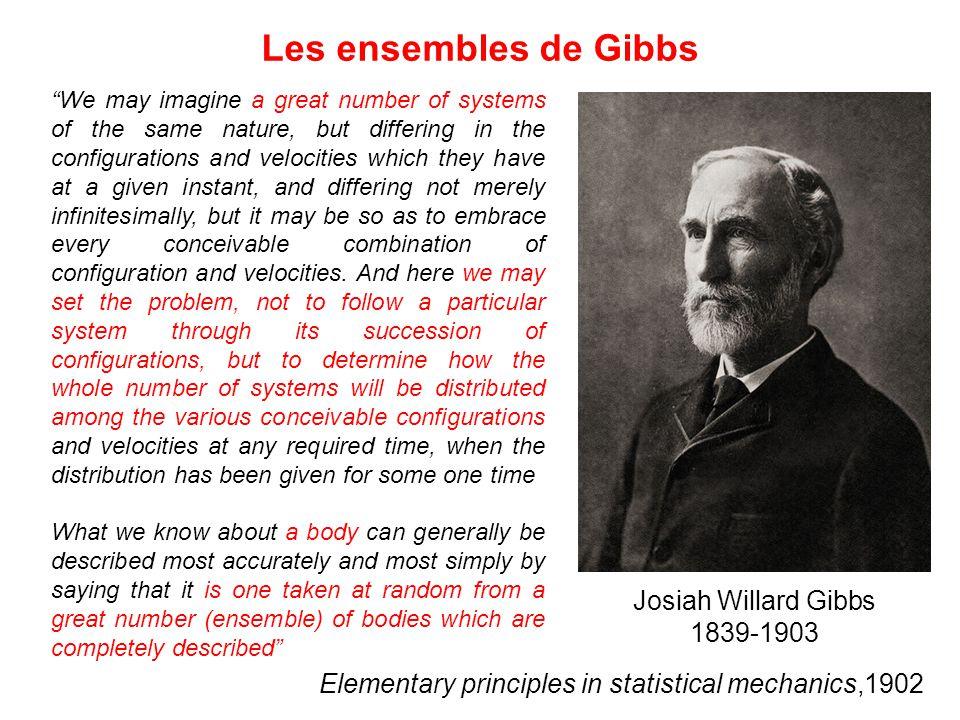 Les ensembles de Gibbs Josiah Willard Gibbs 1839-1903