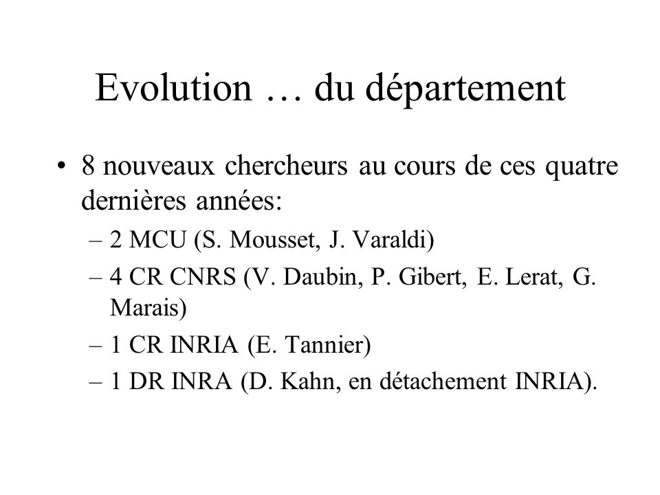 Evolution … du département