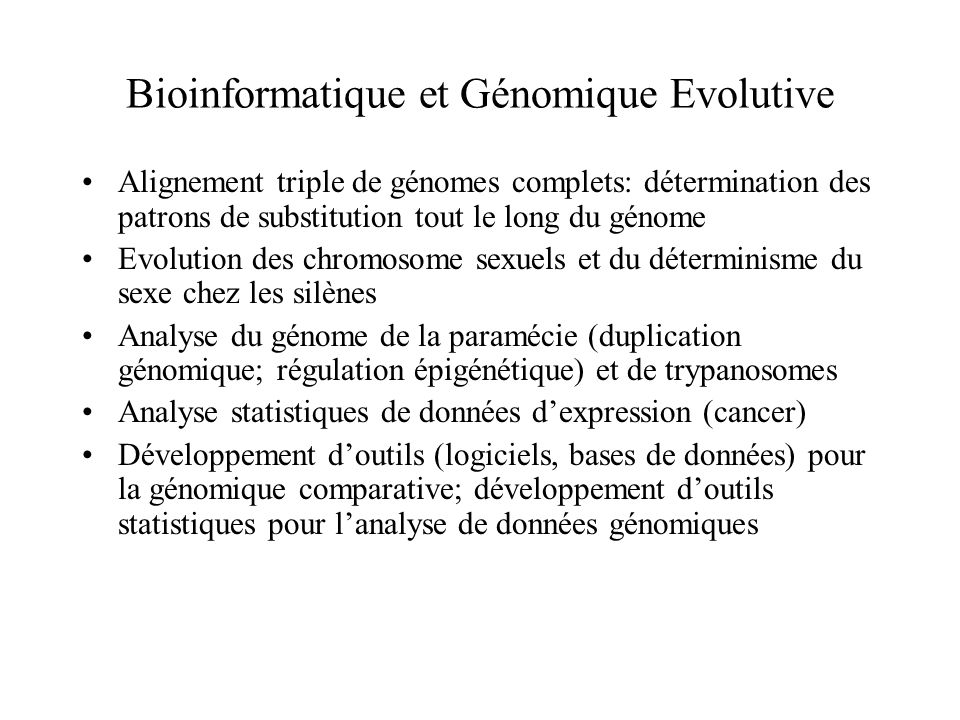 Bioinformatique et Génomique Evolutive