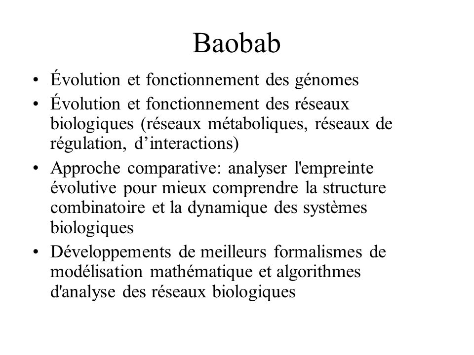 Baobab Évolution et fonctionnement des génomes