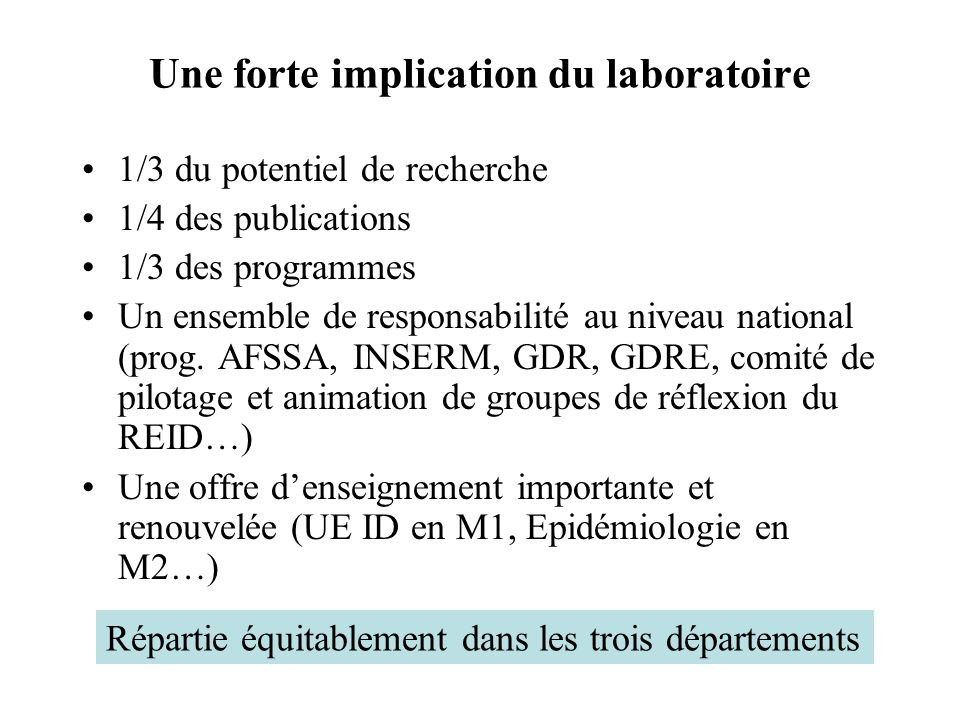 Une forte implication du laboratoire