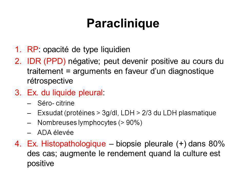 Paraclinique RP: opacité de type liquidien
