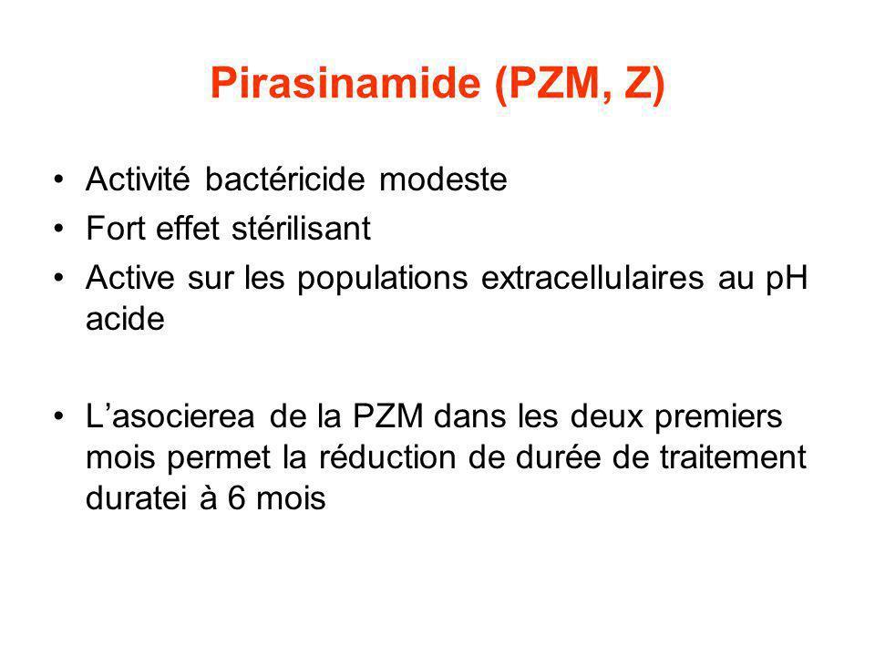 Pirasinamide (PZM, Z) Activité bactéricide modeste