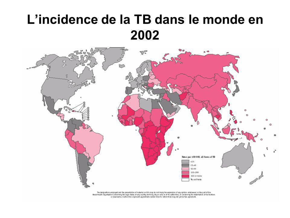 L'incidence de la TB dans le monde en 2002