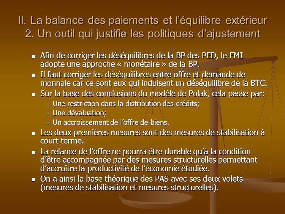 II. La balance des paiements et l'équilibre extérieur 2