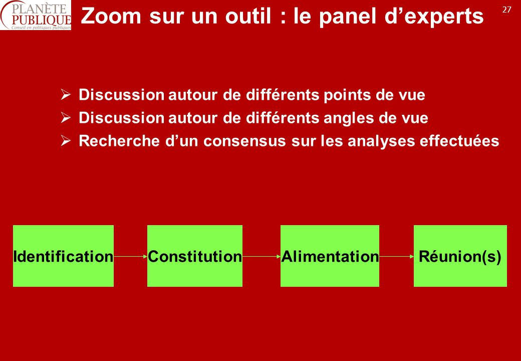 Zoom sur un outil : le panel d'experts
