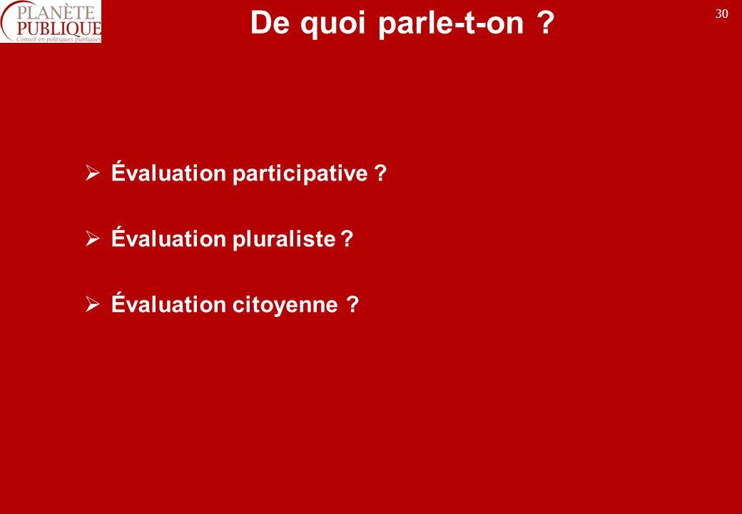De quoi parle-t-on Évaluation participative