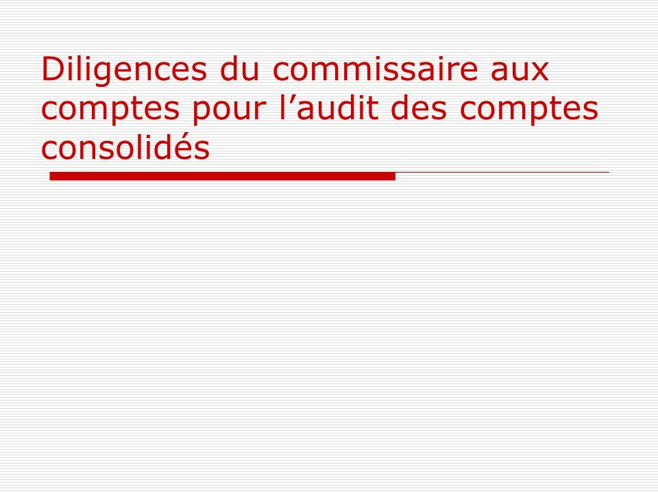 Diligences du commissaire aux comptes pour l'audit des comptes consolidés
