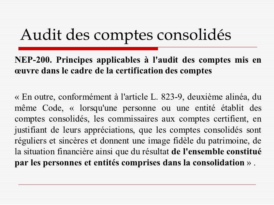 Audit des comptes consolidés