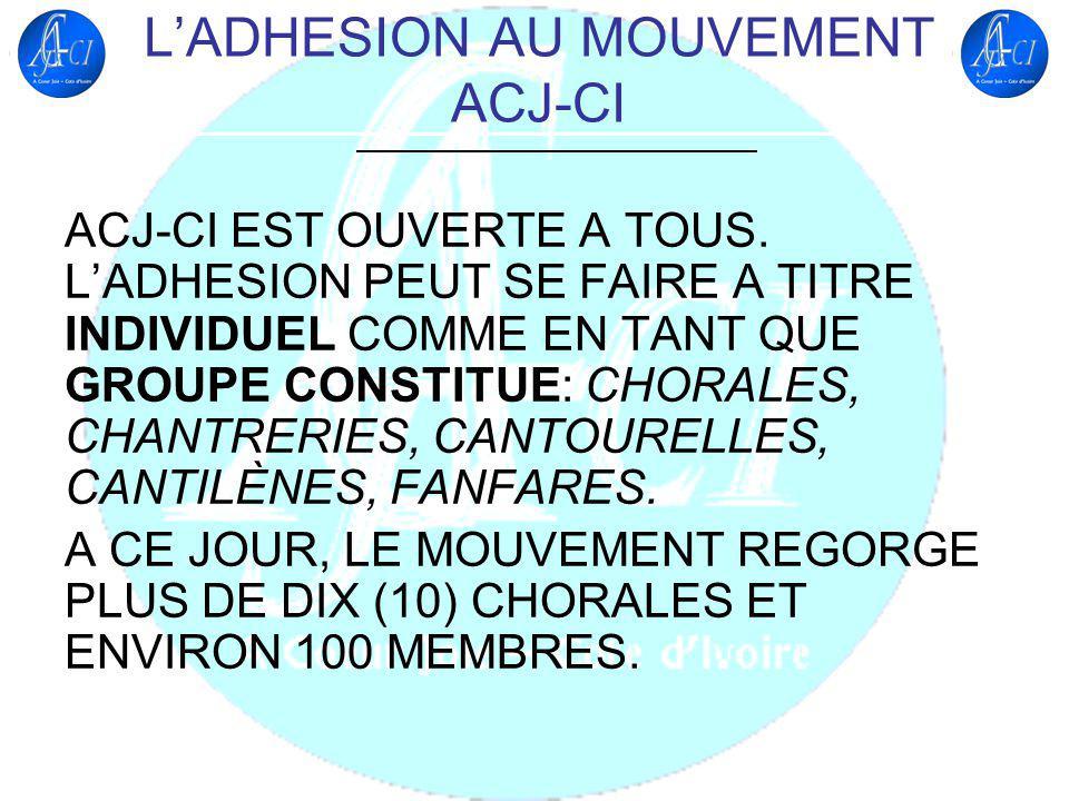 L'ADHESION AU MOUVEMENT ACJ-CI