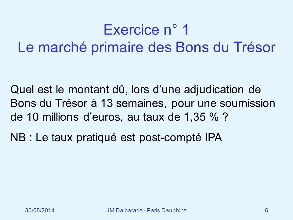 Exercice n° 1 Le marché primaire des Bons du Trésor