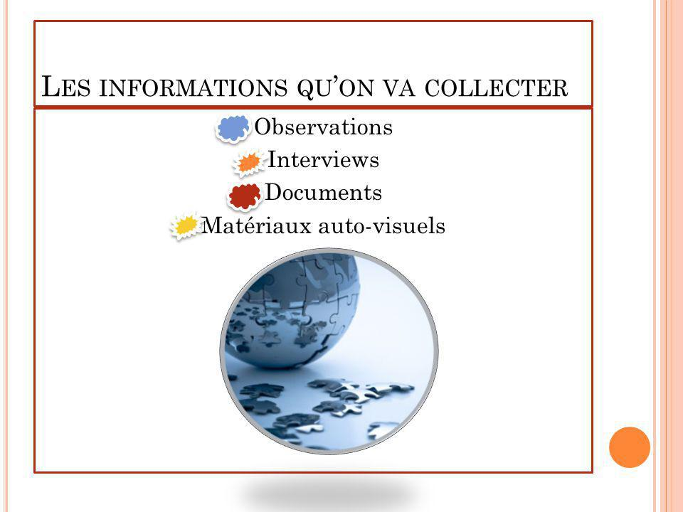 Les informations qu'on va collecter