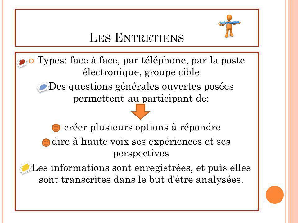 Les Entretiens Types: face à face, par téléphone, par la poste électronique, groupe cible.