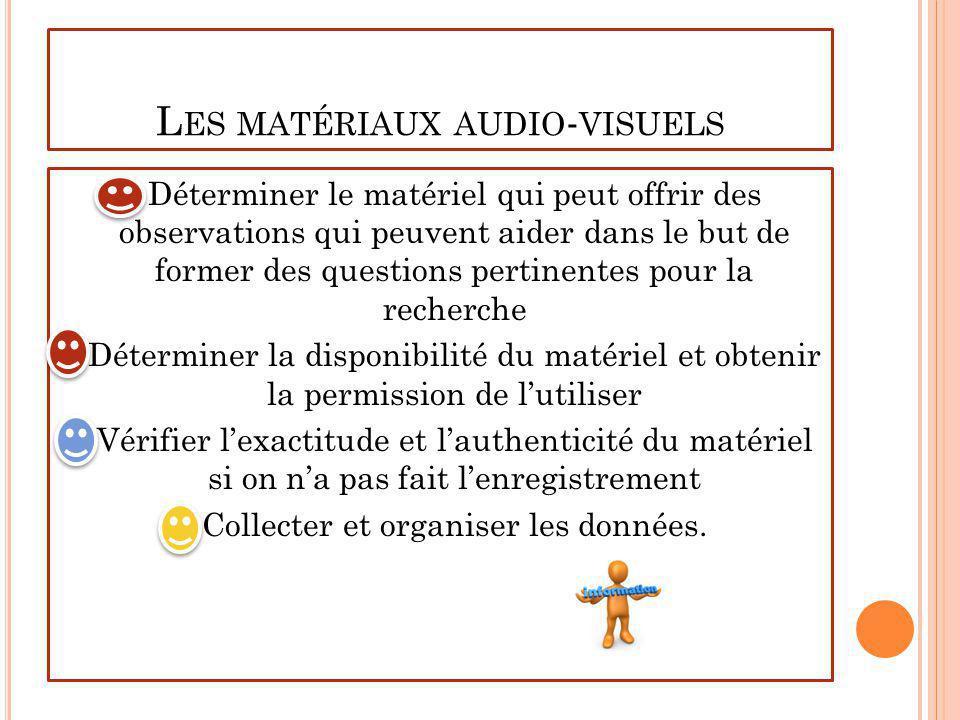Les matériaux audio-visuels