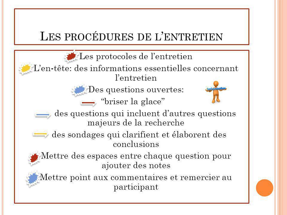 Les procédures de l'entretien