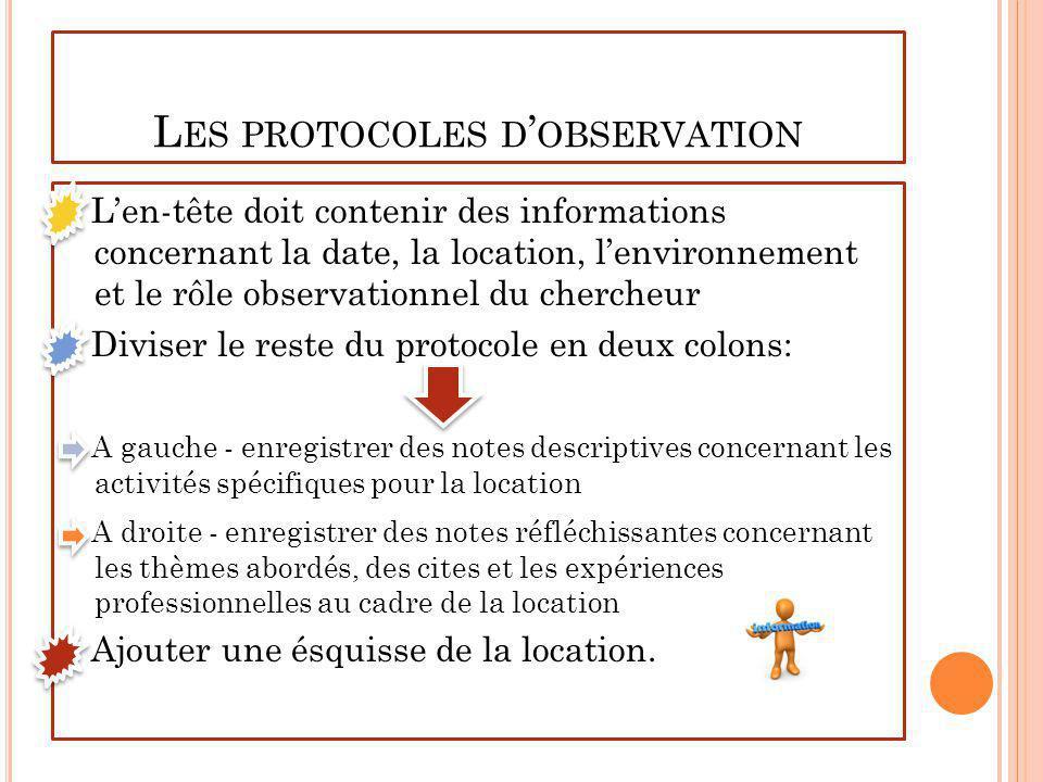 Les protocoles d'observation
