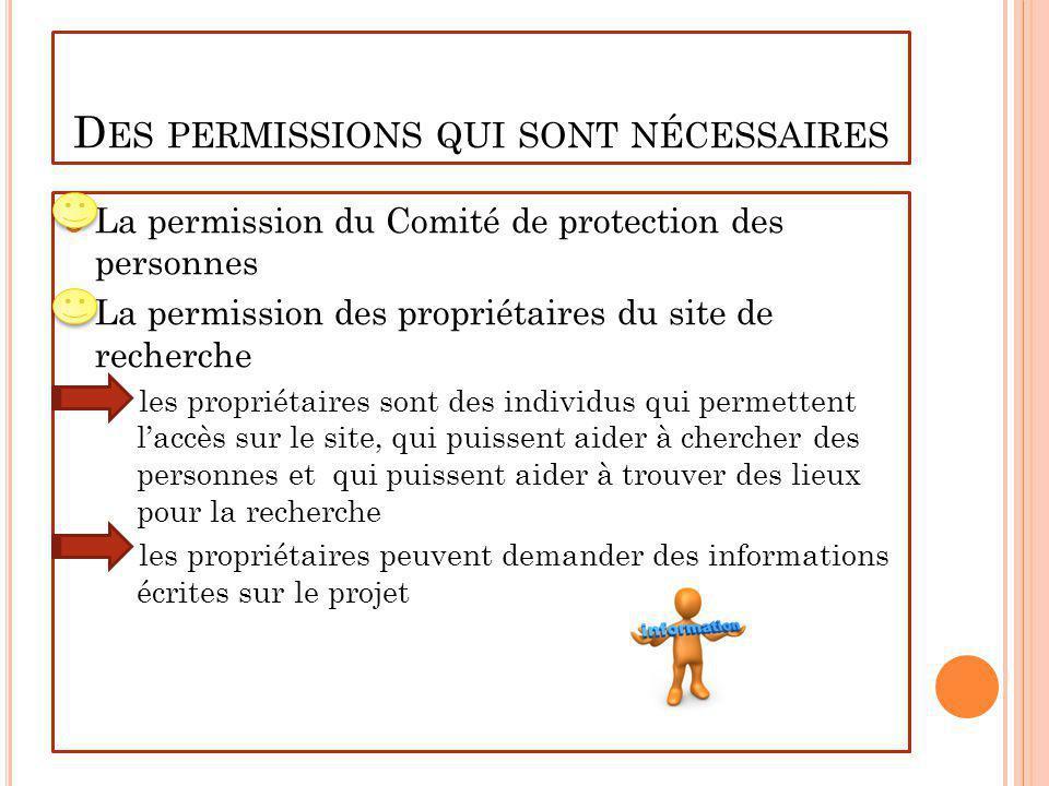 Des permissions qui sont nécessaires
