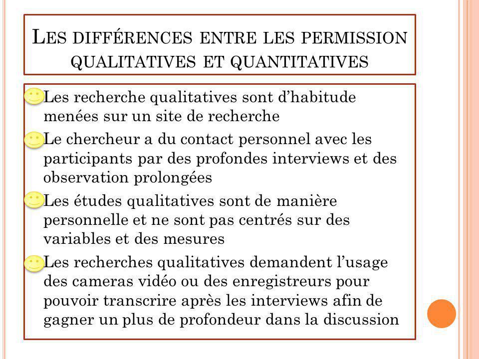 Les différences entre les permission qualitatives et quantitatives