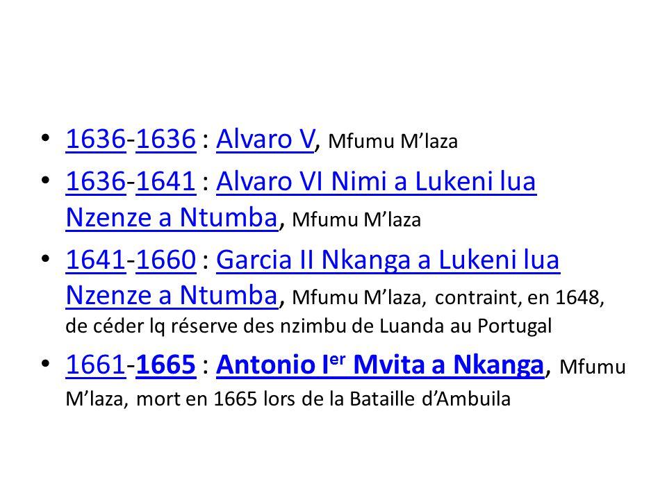 1636-1636 : Alvaro V, Mfumu M'laza