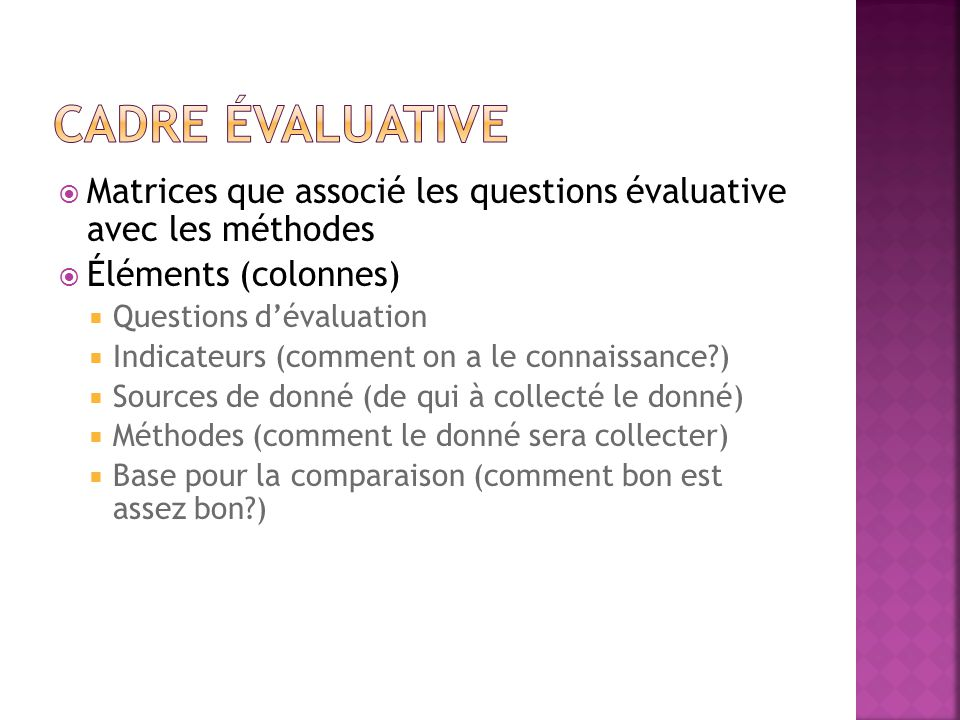 Cadre Évaluative Matrices que associé les questions évaluative avec les méthodes. Éléments (colonnes)