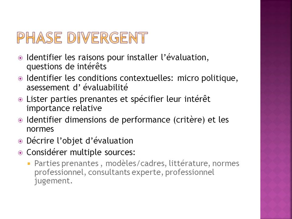 Phase Divergent Identifier les raisons pour installer l'évaluation, questions de intérêts.